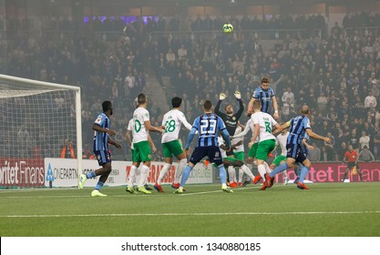 STOCKHOLM, SWEDEN - MAR 10, 2019: Chaos ofter a corner  at the Swedish soccer cup quarter finals between Djurgarden vs Hammarby. March 10 2019,Stockholm,Sweden