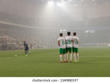 STOCKHOLM, SWEDEN - MAR 10, 2019: Free kick at the Swedish soccer cup quarter finals between Djurgarden vs Hammarby. March 10 2019,Stockholm,Sweden