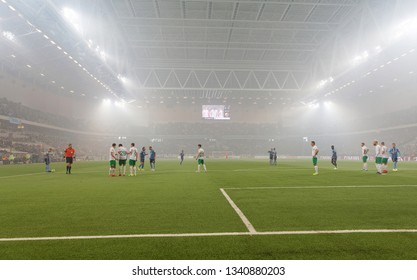 STOCKHOLM, SWEDEN - MAR 10, 2019: Tele2 arena and the coccer teams at the Derby at the Swedish soccer cup quarter finals between Djurgarden vs Hammarby. March 10 2019,Stockholm,Sweden