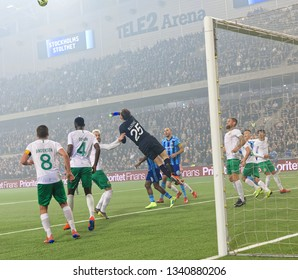STOCKHOLM, SWEDEN - MAR 10, 2019: Rescue of the keeper ofter a corner at the Swedish soccer cup quarter finals between Djurgarden vs Hammarby. March 10 2019,Stockholm,Sweden