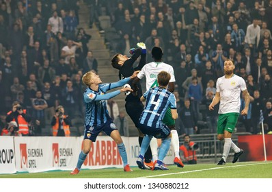 STOCKHOLM, SWEDEN - MAR 10, 2019: Free kick chaos at the Swedish soccer cup quarter finals between Djurgarden vs Hammarby. March 10 2019,Stockholm,Sweden