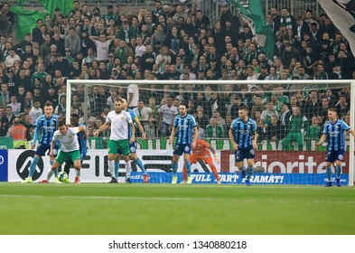 STOCKHOLM, SWEDEN - MAR 10, 2019: Goal chance  at the Swedish soccer cup quarter finals between Djurgarden vs Hammarby. March 10 2019,Stockholm,Sweden