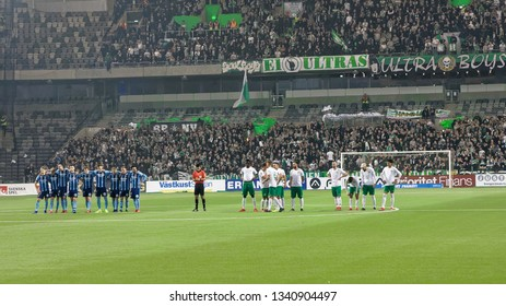 STOCKHOLM, SWEDEN - MAR 10, 2019: Before the penalty shootout at the Swedish soccer cup quarter finals between Djurgarden vs Hammarby. March 10 2019,Stockholm,Sweden