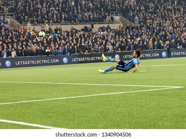 STOCKHOLM, SWEDEN - MAR 10, 2019: Kevin Walker falling in the  penalty shootout at the Swedish soccer cup quarter finals between Djurgarden vs Hammarby. March 10 2019,Stockholm,Sweden
