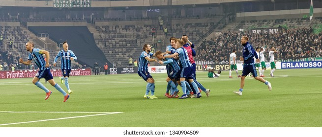 STOCKHOLM, SWEDEN - MAR 10, 2019: Happy players after winning the penalty shootout at the Swedish soccer cup quarter finals between Djurgarden vs Hammarby. March 10 2019,Stockholm,Sweden