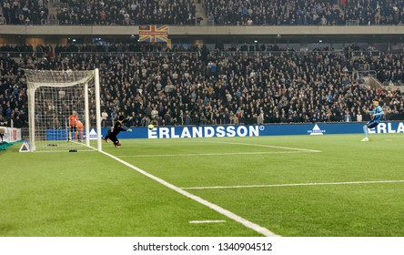 STOCKHOLM, SWEDEN - MAR 10, 2019: Shooting in the penalty shootout at the Swedish soccer cup quarter finals between Djurgarden vs Hammarby. March 10 2019,Stockholm,Sweden