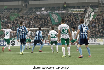 STOCKHOLM, SWEDEN - MAR 10, 2019: Derby at the Swedish soccer cup quarter finals between Djurgarden vs Hammarby. March 10 2019,Stockholm,Sweden