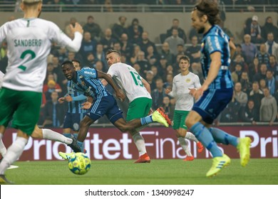 STOCKHOLM, SWEDEN - MAR 10, 2019: Chaotic situation at the Swedish soccer cup quarter finals between Djurgarden vs Hammarby. March 10 2019,Stockholm,Sweden