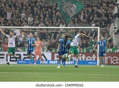 STOCKHOLM, SWEDEN - MAR 10, 2019: Upset feelings at the Swedish soccer cup quarter finals between Djurgarden vs Hammarby. March 10 2019,Stockholm,Sweden