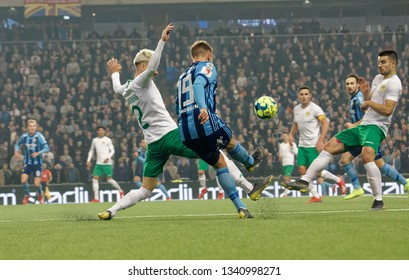 STOCKHOLM, SWEDEN - MAR 10, 2019: Duel between Kevin Walker and Simon Sandberg at the Swedish soccer cup quarter finals between Djurgarden vs Hammarby. March 10 2019,Stockholm,Sweden