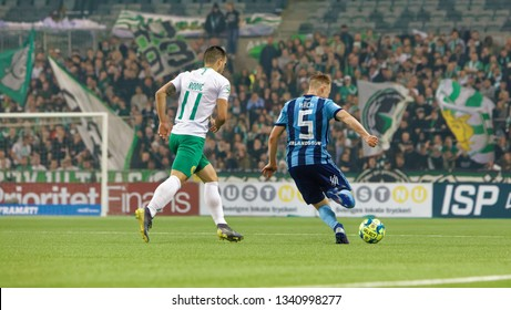 STOCKHOLM, SWEDEN - MAR 10, 2019: Duel between Kack and Rodic at the Swedish soccer cup quarter finals between Djurgarden vs Hammarby. March 10 2019,Stockholm,Sweden
