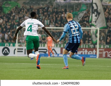 STOCKHOLM, SWEDEN - MAR 10, 2019: Duel between Odilion and Bergmark at the Swedish soccer cup quarter finals between Djurgarden vs Hammarby. March 10 2019,Stockholm,Sweden