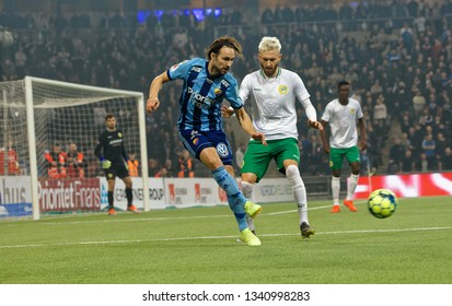 STOCKHOLM, SWEDEN - MAR 10, 2019: Kevin Walker at the Swedish soccer cup quarter finals between Djurgarden vs Hammarby. March 10 2019,Stockholm,Sweden