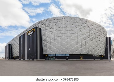 Stockholm, Sweden - Mar 30, 2016 : View of Friends Arena,  is a retractable roof multi-purpose national stadium located in Solna, Stockholm. Served as a national stadium for football since 2012.