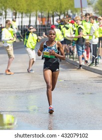 STOCKHOLM SWEDEN MARATHON June 4, 2016. The winner in the women's race from Kenya, Jane Moraa Onyangi.
