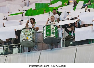 STOCKHOLM, SWEDEN - MARCH 10, 2019: Hammarby Tifo during the Swedish cup quarter finals between the rivals Djurgarden vs Hammarby.