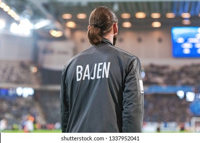 STOCKHOLM, SWEDEN - MARCH 10, 2019: Injured Johan Wiland (HIF) at the warmup in the swedish cup quarter finals between the rivals Djurgarden vs Hammarby in a derby.