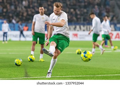 STOCKHOLM, SWEDEN - MARCH 10, 2019: Warmup (HIF) at the Swedish cup quarter finals between the rivals Djurgarden vs Hammarby in a derby.