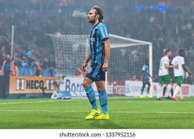 STOCKHOLM, SWEDEN - MARCH 10, 2019: Kevin Walker (DIF) at the Swedish cup quarter finals between the rivals Djurgarden vs Hammarby in a derby.