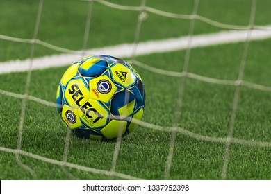 STOCKHOLM, SWEDEN - MARCH 10, 2019: Official ball in the net during the warmup at the Swedish cup quarter finals between the rivals Djurgarden vs Hammarby.
