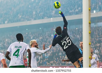 STOCKHOLM, SWEDEN - MARCH 10, 2019: Davor Blazevic (HIF) goalkeeper at the Swedish cup quarter finals between the rivals Djurgarden vs Hammarby.