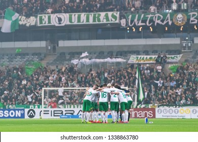 STOCKHOLM, SWEDEN - MARCH 10, 2019: HIF players before the Swedish cup quarter finals between the rivals Djurgarden vs Hammarby in a derby