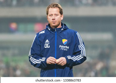 STOCKHOLM, SWEDEN - MARCH 10, 2019: Daniel Granqvist, teamcoach (DIF) at the Swedish cup quarter finals between the rivals Djurgarden vs Hammarby in a derby.