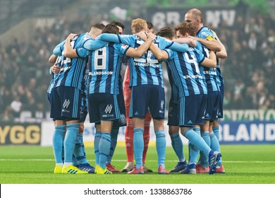 STOCKHOLM, SWEDEN - MARCH 10, 2019: DIF players before the Swedish cup quarter finals between the rivals Djurgarden vs Hammarby in a derby.