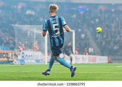 STOCKHOLM, SWEDEN - MARCH 10, 2019: Elliot Kack (DIF) at the Swedish cup quarter finals between the rivals Djurgarden vs Hammarby in a derby.