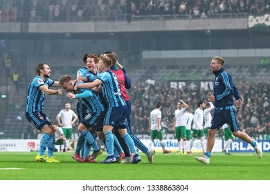 STOCKHOLM, SWEDEN - MARCH 10, 2019: Winners DIF after penalty shootout 4-2 at the Swedish cup quarter finals with the rivals Hammarby.