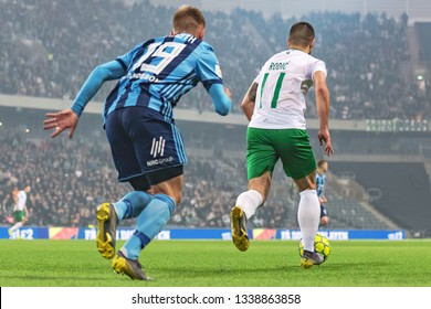 STOCKHOLM, SWEDEN - MARCH 10, 2019: Niklas Barkroth (DIF) at the Swedish cup quarter finals between the rivals Djurgarden vs Hammarby in a derby.