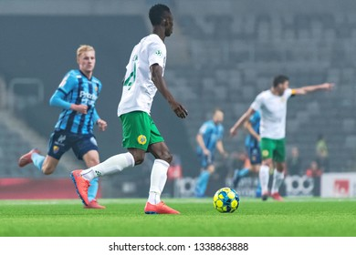 STOCKHOLM, SWEDEN - MARCH 10, 2019: Swedish cup quarter finals between the rivals Djurgarden vs Hammarby in a derby. Result 0-0, shootout after overtime 4-2 to DIF.
