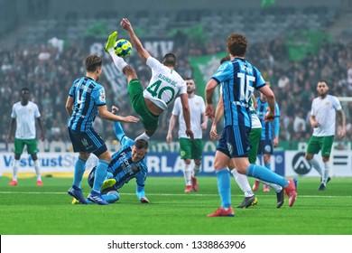 STOCKHOLM, SWEDEN - MARCH 10, 2019: Nikola Djurdjic (HIF) at the Swedish cup quarter finals between the rivals Djurgarden vs Hammarby in a derby.