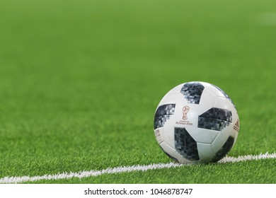 STOCKHOLM, SWEDEN, MARCH, 12, 2018 Official football with the Russia 2018 logo at the Swedish cup quarterfinals between Djurgarden and Hacken. Winner DIF with 1-0