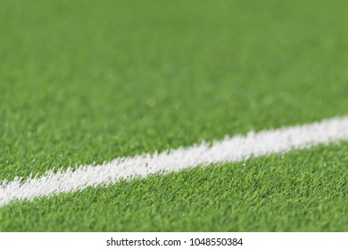 STOCKHOLM, SWEDEN, MARCH, 12, 2018 Detail of the white lines at the Swedish cup quarterfinals between Djurgarden and Hacken. Winner DIF with 1-0