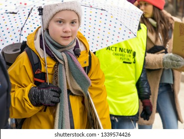 STOCKHOLM, SWEDEN - MARCH 15, 2019: 16-year-old climate activist Greta Thunberg leading a climate manifestation.
