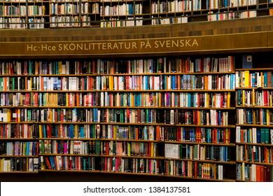STOCKHOLM, SWEDEN, MARCH 21, 2019: Interior of the famous public library stadsbiblioteket in Stockholm, architect Gunnar Asplund.