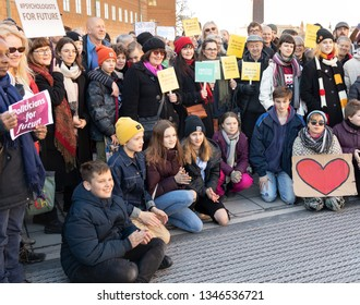 STOCKHOLM, SWEDEN - MARCH 22, 2019:  Climate activists of all ages joining 16-year-old Swedish Greta Thunberg for school strike against climate change.