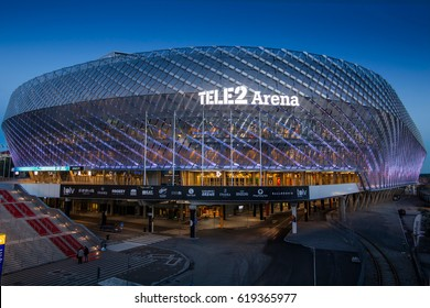 STOCKHOLM, SWEDEN - March 5, 2017: Tele2 Arena located in Johanneshov. The indoor stadium hosts variety of public events, mostly concerts and footbal matches