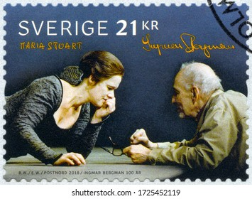STOCKHOLM, SWEDEN - MAY 03, 2018: A stamp printed in Sweden shows Maria Stuart, by Ernst Ingmar Bergman (1918-2007),  The 100th Anniversary of the Birth of Ingmar Bergman, 2018