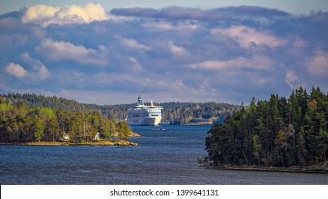 STOCKHOLM, SWEDEN - May 03, 2019: Ferry ship Silja Serenade of Silja Line - Finnish cruiseferry brand operated by Estonian company AS Tallink Grupp, sails through the Stockholm Archipelago in Sweden.