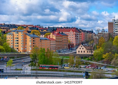 STOCKHOLM, SWEDEN - May 03, 2019: High point view to urban scene i the Sodermalm district from water.