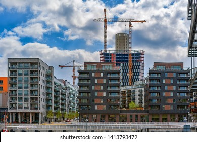 STOCKHOLM, SWEDEN - May 03, 2019: Building activity on construction site of a new apartment building in Martensdal, south part of Hammarby Sjostad.