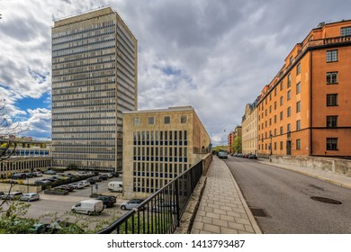 STOCKHOLM, SWEDEN - May 03, 2019: Building of Folksam insurance company headquarter (75m, 22 floors), one of the largest insurance company in Sweden, at Skanstull, on the south end of Sodermalm.
