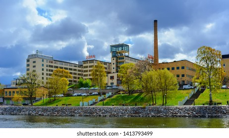 STOCKHOLM, SWEDEN - May 03, 2019: Lumafabriken works (The Luma Factory), a historic modernist lamp factory built in the 1930s as one of the first functionalist industrial plants. Sodra Hammarbyhamnen.