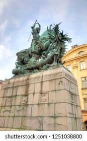 STOCKHOLM, SWEDEN - May 04.2013: Bible story, the Holy Knight slays the dragon