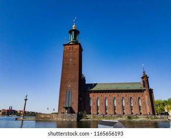 """Stockholm, Sweden - may 05, 2018: Stockholm City Hall """"Stockholms Stadshus"""" EDITORIAL"""