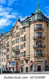 STOCKHOLM, SWEDEN - May 07, 2017: Street corner apartment building (1906) in Art Nouveau style with ornate facade decoration.