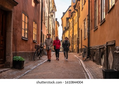 Stockholm, Sweden - May 1, 2019: People at Gamla Stan -Old Town- in Stockholm, Sweden. Stockholm is the capital and most populated area of Sweden. Tourists on the streets of Gamlastan