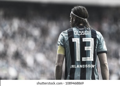 STOCKHOLM, SWEDEN, MAY 10, 2018: Jonas Olsson defender and captain in DIF against Malmo FF in the Swedish cup (svenska cupen). DIF won with 3-0